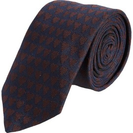 BURBERRY PRORSUM - BURBERRY PRORSUM Jacquard Hearts Silk Woven Tie in Navy Burgundy Red