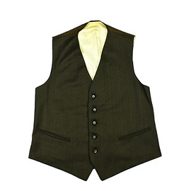 VINTAGE - Vintage 1970s Pinstripe Vest in Army Green Mens Size Small