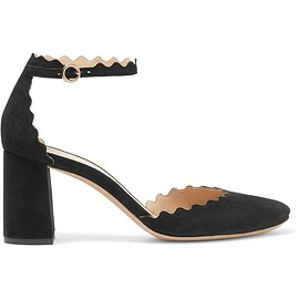 Chloé - Scalloped suede pumps