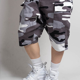 JOYRICH - COTTON CAMO CARGO SHORTS / GRY
