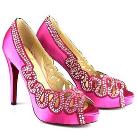 Christian Louboutin - Pumps Cutout Peep Toe Satin Pink