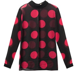 SAINT LAURENT - FW2014 FOLD-OVER COLLAR BLOUSE IN BLACK AND FUCHSIA LARGE POLKA DOT PRINTED SILK GEORGETTE