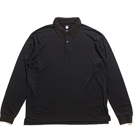 DESCENTE PAUSE - Merino Wool Polo L/S-Black