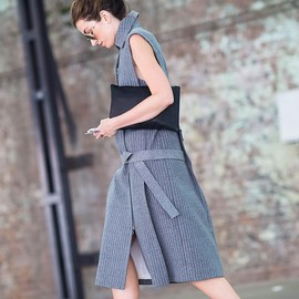 sleeveless grey coat dress