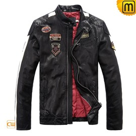 CWMALLS - Black Leather Motorcycle Jacket CW813028 - jackets.cwmalls.com