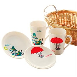 Yamaka good - Moomin Valley 1 basket & 2 Mug Cup 2 Plates  set