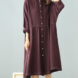 loose gown, long sleeve striped shirt