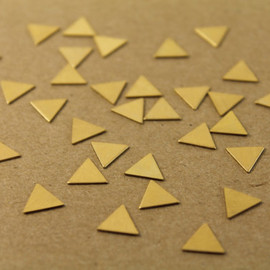 20 pc. Tiny Raw Brass Triangles: 9mm by 9mm - made in USA, ships from USA