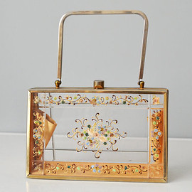 Vintage - 50s Handbag // 1950s Tyrolean Hand Painted Lucite Box Purse