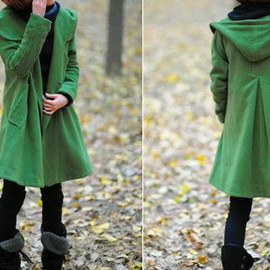Grass green Wool Coat, Wool Coat with hooded, Wool cape winter Coat