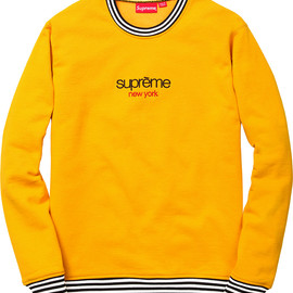 supreme - classic-logo-striped-rib-crewneck