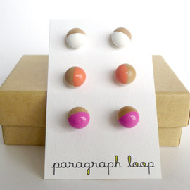 paragraph loop - Pink, peach and white earring set