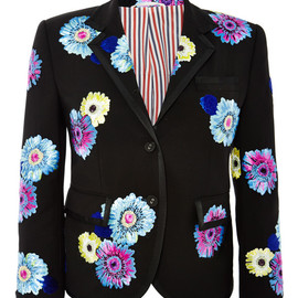 THOM BROWNE - SS2015 Tipped Little Boy Jacket In Flower Satin Stitched Kid Mohair