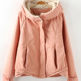 CiChic - Pink Plain Long Sleeve Cotton Blend Padded Coat