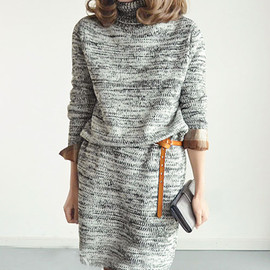fashion - [ghyxh360860]Leisure Retro Mixing Color Warm Pullover Long Sweater