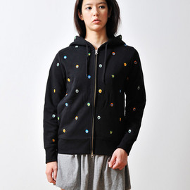 Design Tshirts Store graniph - Colorful Mask Embroidery Long Sleeve Zip Parka(Black)