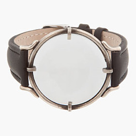 ANN DEMEULEMEESTER - Black Leather Magnifying Glass Mock-watch