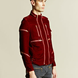 blackmeans - Blackmeans Men's Multiple Zip Velvet Jacket