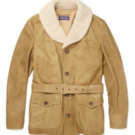 Ralph Lauren Purple Label - Leather Jacket with Shearling Collar