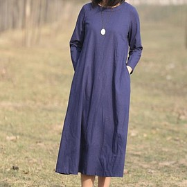 dark blue kaftan dress - Women dress, Loose long dress, Casual dress, dark blue kaftan dress
