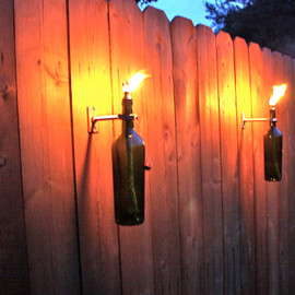 GreatBottlesofFire - Green Wine Bottle Tiki Torches
