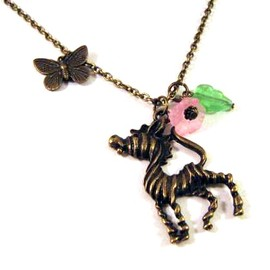 Luulla - Zebra necklace jewelry with pink flower and green leaf - Antiqued bronze butterfly necklace