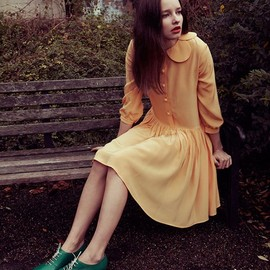 yellow dress and green shoes