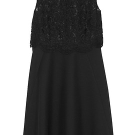 VALENTINO - Lace and wool and silk-blend crepe dress