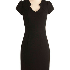 Work the Right Angle Dress - Long, Black, Solid, Work, Vintage Inspired, 60s, Sheath / Shift, Short Sleeves