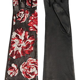 LANVIN - Embroidered organza and leather gloves