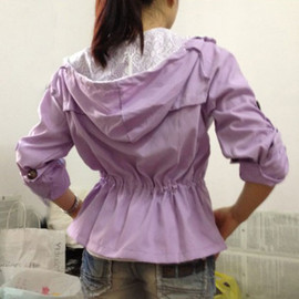 Leisure Pure Color Lace Spliced Sash Hood Thin Trench Coat