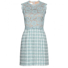 VALENTINO - LACE AND BOUCLÉ BELTED SHEATH DRESS