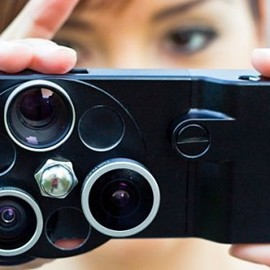 The iPhone Lens Dial features wide angle, fisheye and telephoto lenses, which swivel into ...
