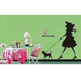 wallstickerdeal - Day By Day Fashion Girl Walking The Dog Wall Sticker