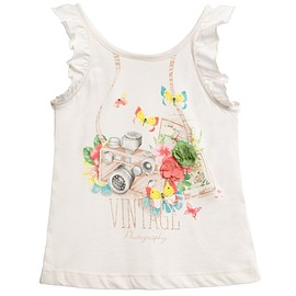 MAYORAL - Girls Ivory Vintage Print T-Shirt
