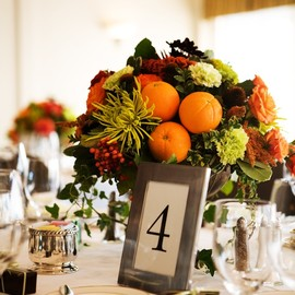 Fruit and Flower Arrangements as Centerpieces