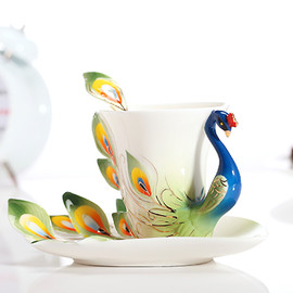 Claybox - Enamel Peacock Cup Set
