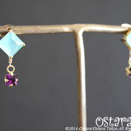 Ostara - 【16KGP】Stud Earrings, Square Mint Opal Glass,Amethyst Swarovski