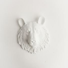 White Faux Taxidermy - White Mini Resin Bear Head