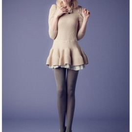 Honey mi Honey - Hem frill knit one-piece