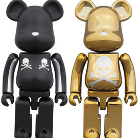 MEDICOM TOY - BE@RBRICK 超合金 mastermind JAPAN 2pack SILVER STRIPE & CHROME GOLD