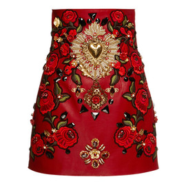 DOLCE&GABBANA - SS2015 Rosso Embellished Leather Mini Skirt