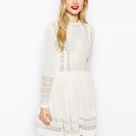 ASOS - Skater Dress With Lace Inserts And Embroidery