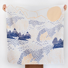 Furoshiki Wrapping Cloth - - LINK x Leah Duncan {Mountain Blossom} Peach x Blue | UGUiSU Online Store