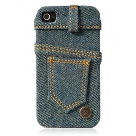 hallomall - Waterwash Back Blue Jeans Back Case For Iphone 4/4S