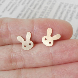 Luulla - bunny rabbit earring studs version 1 in 9ct yellow gold, handmade in England