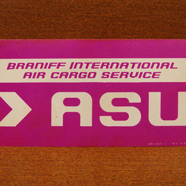 "BRANIFF INTERNATIONAL - luggage label ""ASU"""