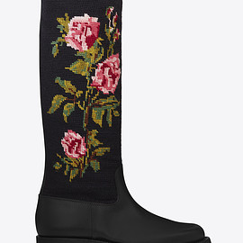 SAINT LAURENT - SS2016 MOTORCYCLE 15 Needlepoint High Boot in Black Leather