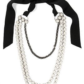 LANVIN - Mariepol burnished silver-plated faux pearl necklace