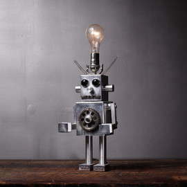 Aesthetic Correlation - Assemblage Art Robot Lamp